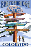 Breckenridge, Colorado - Ski Run Signpost Art by  Lantern Press