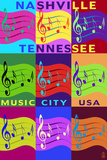 Music Note Pop Art - Nashville, Tennessee Art by  Lantern Press