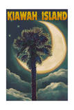 Kiawah Island, South Carolina - Palmetto Moon and Palms Prints by  Lantern Press