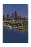 Navy Pier and Chicago Skyline - NO TEXT Art by  Lantern Press