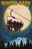 Winter Park, Colorado - Ski Lift and Full Moon Prints by  Lantern Press