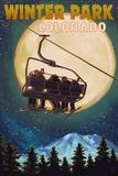 Winter Park, Colorado - Ski Lift and Full Moon Affischer av  Lantern Press