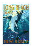 Long Beach Island, New Jersey - Stylized Shark Print by  Lantern Press
