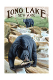 Black Bears Fishing Poster by  Lantern Press