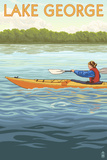 Lake George, New York - Kayak Scene Prints by  Lantern Press