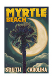 Myrtle Beach, South Carolina - Palmetto Moon and Palm Prints by  Lantern Press