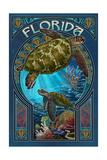 Florida - Sea Turtle Art Nouveau Schilderij van  Lantern Press