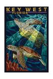Key West, Florida - Sea Turtle Mosaic Prints by  Lantern Press