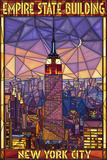 Empire State Building Stained Glass Window - New York City, NY Reprodukcje autor Lantern Press