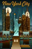 New York City, New York - Retro Skyline Reprodukcje autor Lantern Press