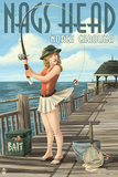 Nags Head, North Carolina - Pinup Girl Fishing Posters by  Lantern Press