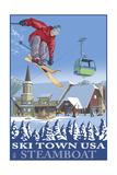 Ski Town USA - Steamboat, Colorado Prints by  Lantern Press