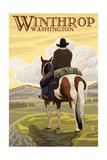 Winthrop, Washington - Cowboy on Horseback Posters by  Lantern Press