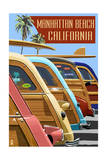 Manhattan Beach, California - Woodies Lined Up Prints by  Lantern Press