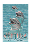 Ventura, California - Dolphins Print by  Lantern Press