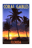 Coral Gables, Florida - Palms and Sunset Posters