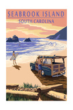 Seabrook Island, South Carolina - Woody on the Beach Posters by  Lantern Press