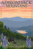 Adirondacks Mountains - Lake Placid, New York - Bears and Spring Flowers Posters by  Lantern Press