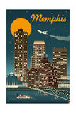 Memphis, Tennessee - Retro Skyline Posters by  Lantern Press