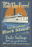 Block Island, Rhode Island - Ferry Ride Vintage Sign Giclée-Premiumdruck von  Lantern Press