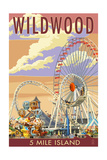 Wildwood, New Jersey - Pier and Sunset Posters by  Lantern Press
