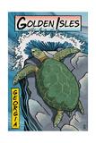 Golden Isles, Georgia - Sea Turtles Woodblock Print Kunst van  Lantern Press