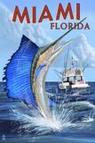 Miami, Florida - Deep Sea Fishing Prints by  Lantern Press