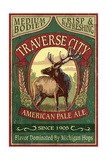 Traverse City, Michigan - Elk Head Pale Ale Vintage Sign Prints by  Lantern Press