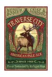 Traverse City, Michigan - Elk Head Pale Ale Vintage Sign Prints