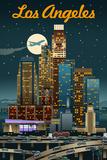 Los Angeles, California - Retro Skyline Reprodukcje autor Lantern Press