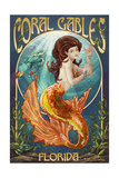 Coral Gables, Florida - Mermaid Art by  Lantern Press