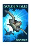 Golden Isles, Georgia - Sea Turtle Diving Schilderij van  Lantern Press