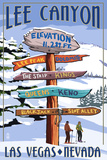 Lee Canyon - Las Vegas, Nevada - Ski Signpost Print by  Lantern Press