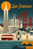 San Francisco, California - Retro Skyline Plakat av  Lantern Press