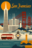 San Francisco, California - Retro Skyline Obra de arte por Lantern Press