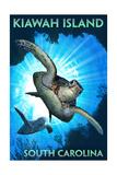 Kiawah Island - South Carolina - Sea Turtle Diving Print van  Lantern Press