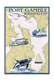 Port Gamble, Washington - Nautical Chart Prints by  Lantern Press