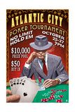 Atlantic City - Poker Tournament Vintage Sign Posters by  Lantern Press