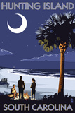 Hunting Island, South Carolina - Palmetto Moon Poster by  Lantern Press