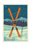 Whitefish, Montana - Crossed Skis Prints by  Lantern Press