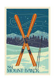 Mt. Baker, Washington - Crossed Skis Poster by  Lantern Press