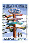 Brundage Mountain, McCall, Idaho - Ski Destination Signpost Print by  Lantern Press