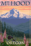 Mt. Hood, Oregon - Bear Family and Spring Flowers Art by  Lantern Press