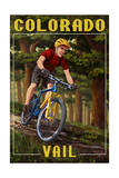 Vail, Colorado - Mountain Biker in Trees Poster by  Lantern Press