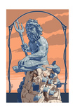 King Neptune Statue Prints
