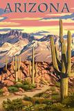 Arizona Desert Scene at Sunset Sztuka autor Lantern Press
