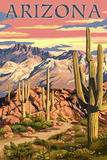 Arizona Desert Scene at Sunset Art by  Lantern Press