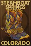 Lantern Press - Steamboat Springs, Colorado - Boot Pair - Reprodüksiyon