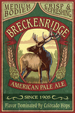 Breckenridge, Colorado - Elk Head Pale Ale Vintage Sign Print by  Lantern Press