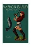 Vashon Island, Washington - Pinup Girl Salmon Fishing Prints by  Lantern Press